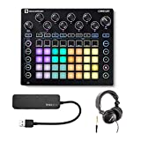Novation Circuit Groove Box Drum Machine Bundle with Headphones and 4-Port 3.0 USB HUB