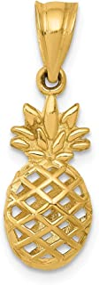 14k Yellow Gold 3d Pineapple Pendant Charm Necklace Food Drink Fine Jewelry Gifts For Women For Her