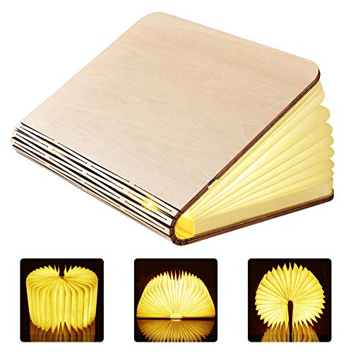 GEEDIAR Libro Lampara LED Luces Plegables de Madera, Luz del Libro de Estilo USB, 2500mAh Lithium Batteries Booklight, Lampara de Mesa, Luces Decorativas, Luces de Escritorio