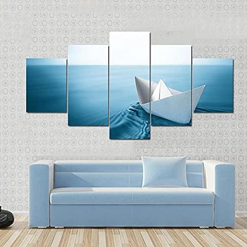 AAAKK Cuadro en Lienzo, Lienzo Decorativo, Fotografía sobre Lienzo, 5 Piezas, Velero de Papel Origami navegando en Agua Azul, Obra De Arte Cartel, Mural Moderno Decor Hogareñ