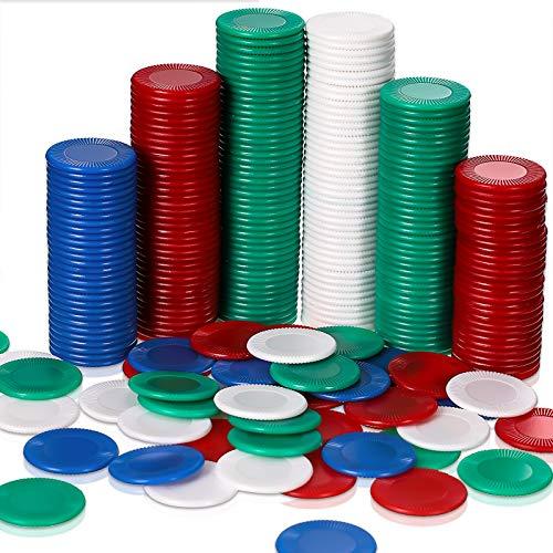 400 Fichas de Póquer de Plástico Tarjeta de Póquer de 4 Colores para Juego de Niños Aprendiendo Matemáticas Contando Juego de Bingo Tarjeta de Fichas en Blanco