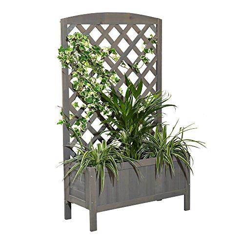 Melko Rankgitter Rankhilfe Spalier mit Blumenkasten Pflanzkasten aus Holz, ideal für Kletterpflanzen, grau