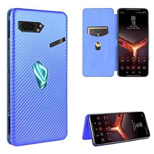 HH-Phone Funda para Asus ROG Phone II Textura de fibra de carbono Magnética Horizontal Flip TPU + PC + PU Funda de teléfono de cuero con ranura para tarjeta hangma (Color: Azul)