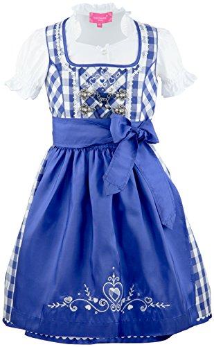 Krüger MADL ® Mädchen Kinderdirndl 3tlg. blau-Weiss Trachtenkleid Dirndl, Bluse Schürze - Marken - Dirndl Set- ArtNr.: 45801