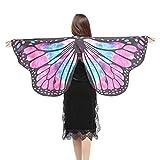 Damen Frauen 147 * 70CM Weiche Gewebe Schmetterlings Flügel Schal feenhafte Damen Nymphe Pixie Halloween Cosplay Weihnachten Cosplay Kostüm Zusatz (Multicolor -B, 147 * 70CM)