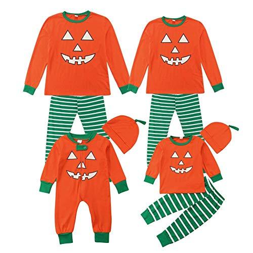 Conjunto de pijama de Halloween para la familia, para mujeres, hombres, niños, bebés, calabaza y pantalones a rayas Naranja Niño 6-12 Meses