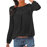 Tashioning Blusa Casual De Manga Larga con Parches Encaje para Mujer Moda Sexy Hueco Patchwork Solid Tops(Negro,L)