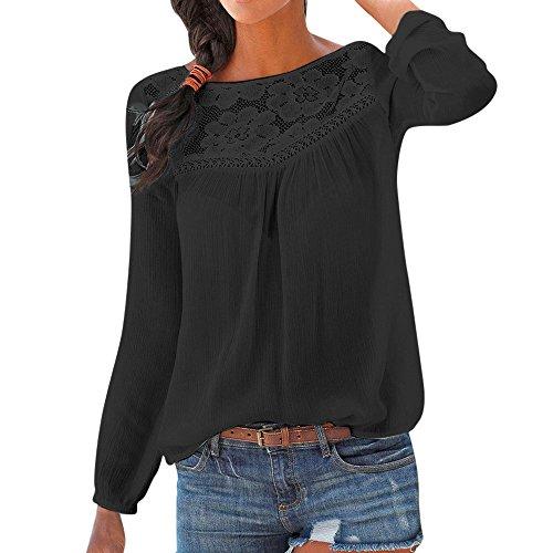 TWIFER Damen Beiläufige Langarm Spitze Patchwork Bluse Sweatshirt