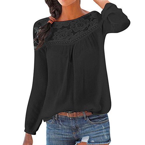 Auifor dames T-shirt met lange mouwen, kleurblok, korte mouwen, casual, ronde hals, tunica-casual, mouwen, kant-patchwork-bovenkant blouse uitsparing losse hemd trui oversize sweatshirt bovenstuk tops