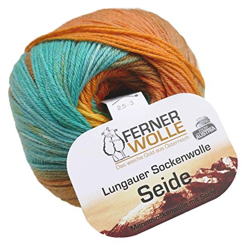 theofeel Ferner Wolle Lungauer Sockenwolle Seide 331x20, 100g weiche Premium Merino Sockenwolle mit Seide zum Stricken & Häkeln