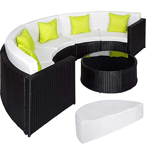 TecTake Ensemble Salon de Jardin demi cercle Poly Rotin Aluminium avec Table incl. Housse de Protection - diverses couleurs au...