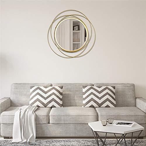 ZHIYA Espejo Redondo De Pared Espejo De Pared Geométrico Colgante con Marco De Metal Espejo Decorativo Maquillaje para Baño Sala De Estar Dormitorio
