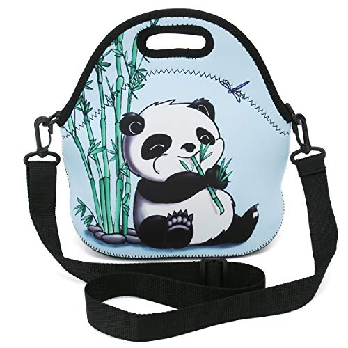 Insulated Neoprene Lunch Bag Removable Shoulder Strap Reusable Thermal Thick Lunch Tote Bags For Women,Teens,Girls,Adults-Lunch Boxes For Outdoors,Work,Office,Shopping (Panda eat Bamboo)