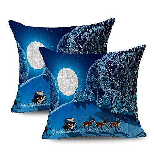 FUEWU Set of 2 Linen Throw Pillow Cover Square 16x16 Inches Country Claus Riding Sleight On Reindeer Sleigh Nature In Christmas Parks Trees Branch Celebration Pillowcase Home Decor Cushion Pillow Case