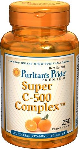 Puritan's Pride Vitamina C-500 Complex-250 Caplets recubiertos