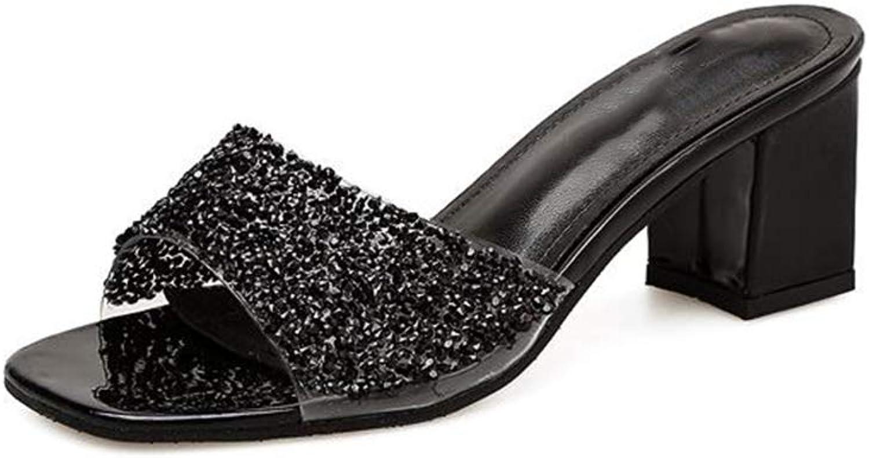 Women's Open Toe Chunky Block Heel Slippers Slide Sandals Shining Mules