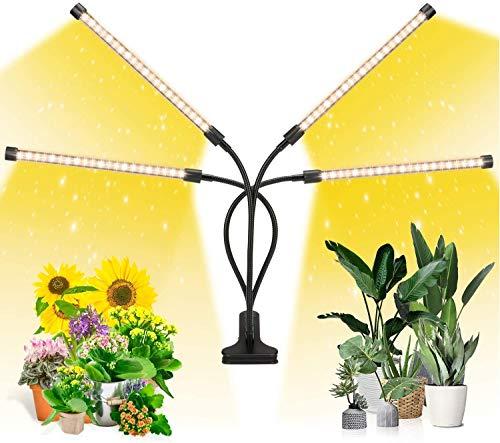 Lampada per Piante,GroCruiser LED Lampada da Coltivazione Spettro Completo con 80LEDs,Lampade LED per Piante 4 Teste con 360 Gradi Flessibile Collo di Cigno con Timer 3/9/12H Lampade LED Coltivazione