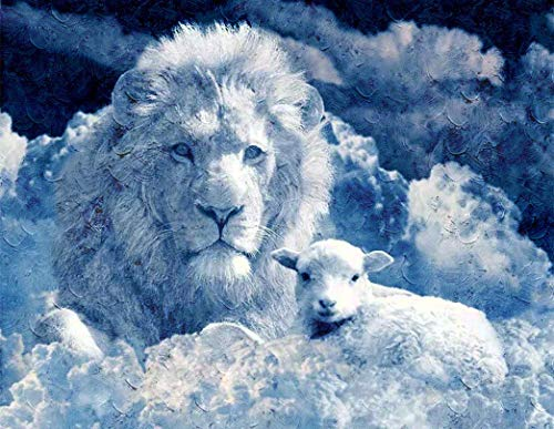 Pintura por números Lienzo Diy Pintura al óleo para niños, adultos, principiantes, regalo con 4 pinceles y pinturas acrílicas, decoración de arte de pared, animal creativo, nube blanca, león y ov