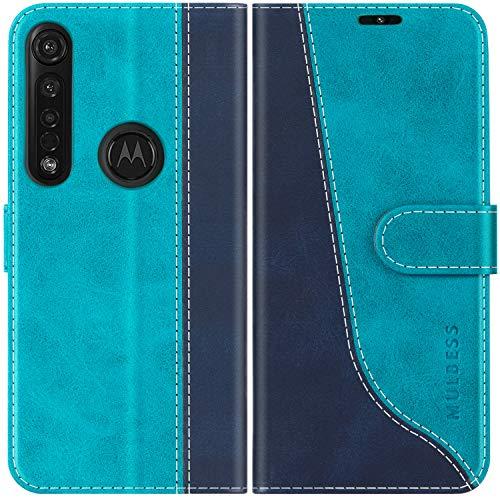 Mulbess Handyhülle für Motorola Moto G8 Plus Hülle Leder, Motorola Moto G8 Plus Handy Hüllen, Modisch Flip Handytasche Schutzhülle für Motorola Moto G8 Plus, Mint Blau