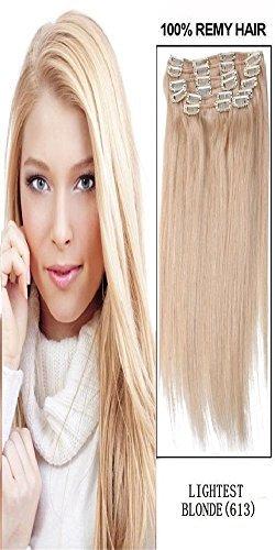 50,8 cm 10 lisse et soyeux Remy Clip en Extensions de cheveux humains. 200 g # 613 blond décoloré