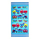 Wildkin Kids 100% Cotton Beach Towel for Boys and Girls, Measures 64 x 32 Inches Kids Towel, Perfect for Beach and Pool Time Fun, Certified OEKO-TEX Standard 100, Olive Kids (Trains, Planes & Trucks)