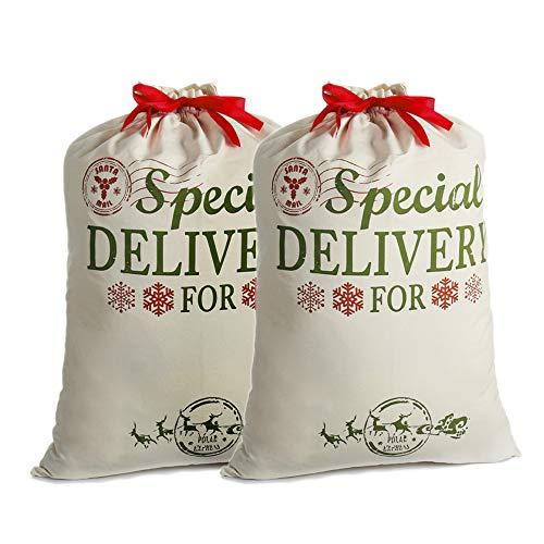 2 Pack Sacos de Santa Personalizadas Navidad Regalo Bolsas Arpillera con Cordón Rojo, Extra Grande Decoraciones de Adornos y Festivos para Fiestas Infantiles para niños Chica Chico (26.8'' X 19.7'')