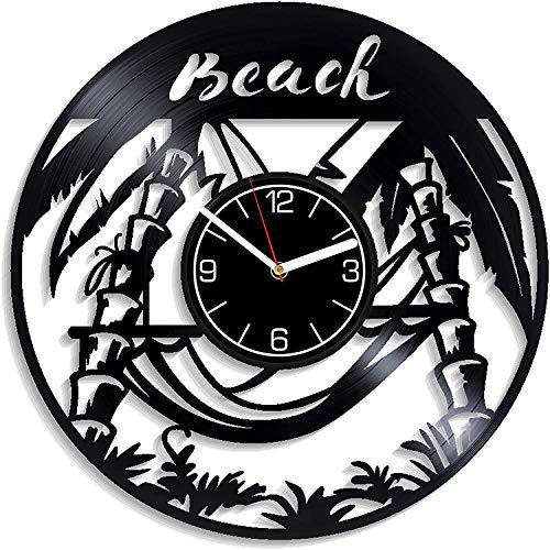 NIGU Accesorios de Dormitorio Decoración de la Playa Reloj de Pared de 12 Pulgadas Ocean Art Beach Reloj de Pared con Disco de Vinilo Regalo de cumpleaños para Hombre Verano Arte de Pared Reloj de pa