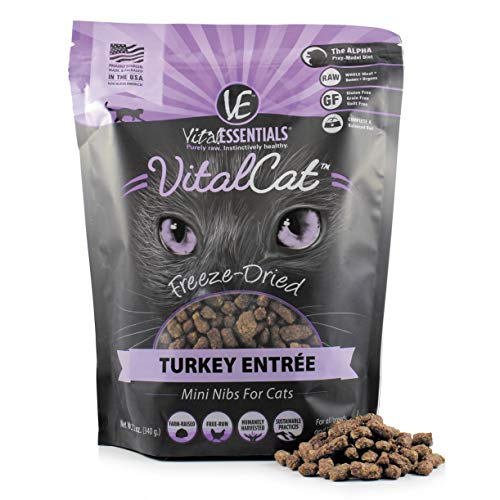 Vital Essentials Vital Cat Freeze-Dried Turkey Mini Nibs Grain Free Limited Ingredient Cat Entrée, 12 Ounce Bag