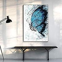 カラフルな抽象的な蝶の動物の写真キャンバスの絵画寝室のリビングルームの家の装飾のための現代の壁の芸術のポスター-50x70cmフレームなし