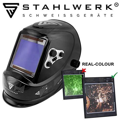 STAHLWERK ST-950XB Vollautomatik Schweißhelm, Optische Klasse: 1/1/1/1, extra großes Sichtfeld, 7 Jahre GARANTIE auf FILTER, inkl 5 Ersatzscheiben & Tasche