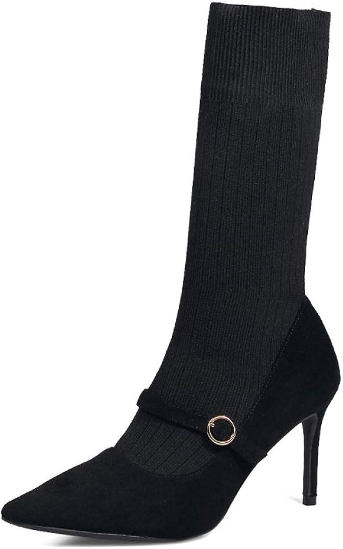 Damen Sexy Stiefel Damen Stretch Hoher Absatz Spitz Stiefeletten Arbeits Buro