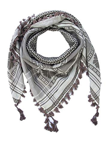 "Merewill Cotton Shemagh Tactical Desert Wrap Keffiyeh Head Neck Arab Scarf For Men 49""x49"" Beige & Olive"