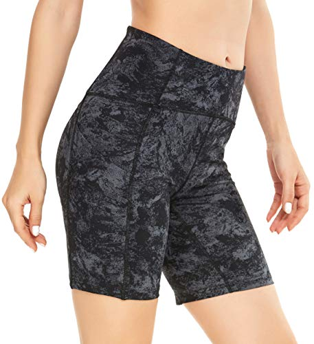 QUEENIEKE E Women's Running Shorts with Phone Pockets Medium Waist 15,24 Inches Tunnam Yoga Sports Tummy Control Workout Pants Size S Color Marble Grey