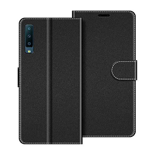 COODIO Handyhülle für Samsung Galaxy A7 2018 Handy Hülle, Samsung Galaxy A7 2018 Hülle Leder Handytasche für Samsung Galaxy A7 2018 Klapphülle Tasche, Schwarz
