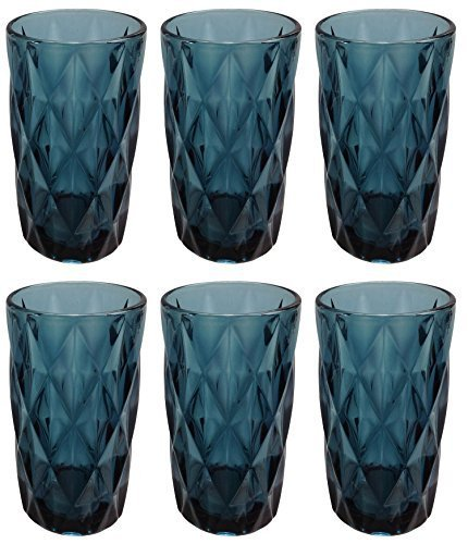 Vintage 6 Teile Set Rombus König Weinglas Glas Gläser Weingläser Wasserglas Longdrinkglas (Trinkglas blau)