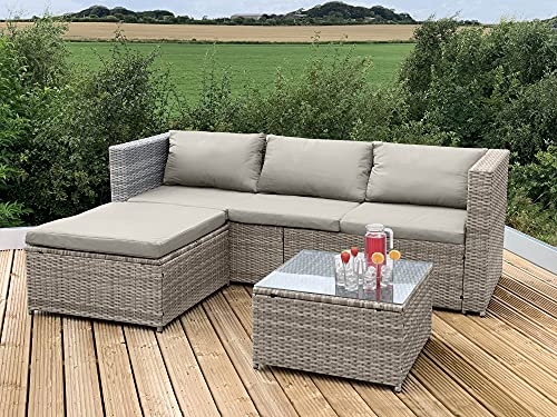 GSD Victoria Rattan Garden Furniture Corner Sofa Lounge Chase Set - Modular 4 Piece In/Outdoor - 3 Colours To Choose From (Natural/Brown)