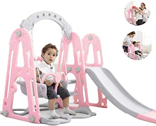 Mefedcy Toddler Climber and Slide Swing Set,3 in 1 Climber Slide Playset w/Basketball Hoop,Easy Climb Stairs, Small Kids Multifunctional Toys for Both Indoors & Backyard (Pink)