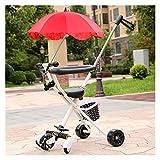 Youpin Carrito de bebé portátil triciclo para niños de 2 a 5 años de edad, carrito de niño scooter triciclo triciclo ajustable (color: W paraguas rojo)