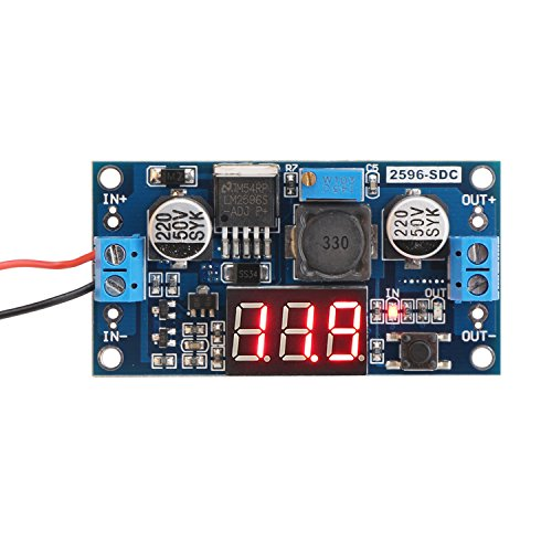 24v to 12v Step Down Converter, DROK LM2596 Analog Control Buck Transformer DC-DC Voltage Reducer Regulator Module 36V 24V 12V to 5V 2A Power Inverter Volt Stabilizer with Red LED Display Voltmeter