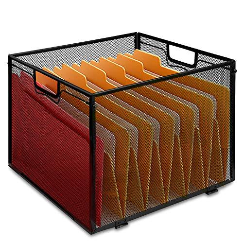 ProAid Mesh File Folder Box,Metal Office Flie Organizer Letter Size File Crate Folder Storage Box, Black