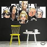 Cuadro En Lienzo, Imagen Impresión, Pintura Decoración, Canvas De 5 Pieza, Mural Moderno Decor Hogareña-Personaje De Anime Tokyo Revengers 100 * 55Cm