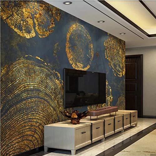 Anillo de crecimiento de oro vintage mural de pared papel tapiz oscuro arte decoración de pared rollo de papel tapiz mural de impresión 3D-350x210cm