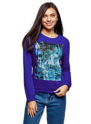oodji Ultra Damen Bedrucktes Baumwoll-Sweatshirt, Blau, DE 34 / EU 36 / XS