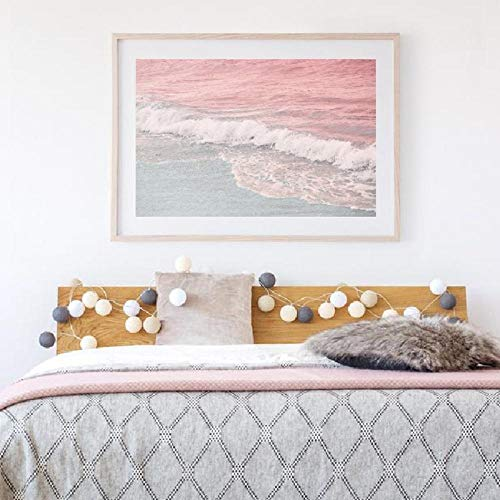 EDGIFT2 Beach Painting Wall Art Coastal Surf Wave Blush Carteles e Impresiones Pink Blue Ocean Wall Pictures Home Room Art Wall Decor50x70 cm Sin Marco
