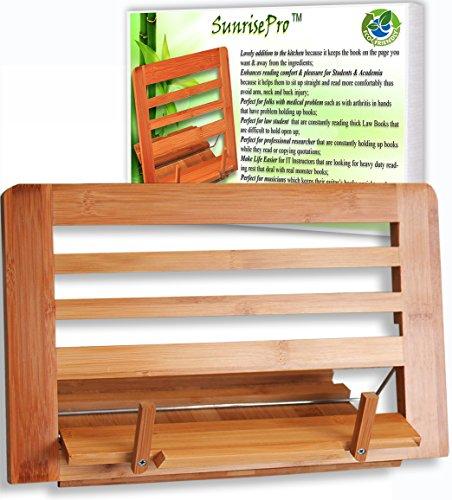 Leggio in bambù per libri di cucina, perfetto per leggere i libri di ricette, ideale per libri grandi e piccoli, in materiale ecosostenibile Brown