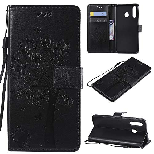 nancencen Hülle Kompatibel mit Samsung Galaxy A8S, Flip-Hülle Handytasche - Standfunktion Brieftasche & Kartenfächern - Baum & Katze - Black