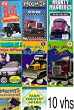 10 vhs set : Big Trucks:Tractors & Trains, I Wanna Be a Police Officer, Mighty Machines - On The Road, There Goes a Bulldozer, Mighty Machines - At The Train Yard , There Goes a Truck (W/Toy), mighty machines on the farm, MIGHTY MACHINES at the demolition