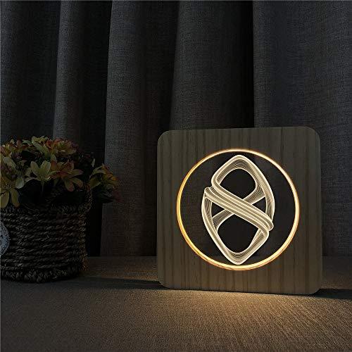 Kinderzimmer Büro Dekoration Geschenke abstrakte Art aus Holz Nachtlicht Tischlampe Schalter Kontrolle Gravur Lampe