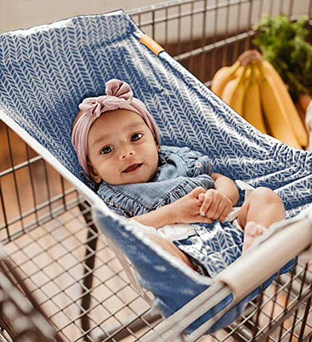 BINXY BABY Shopping Cart Hammock | The Original | Holds All Car Seat Models | Ergonomic Infant Carrier + Positioner (Blue Arrow)