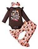 Happidoo Newborn Girls My First Thanksgiving Outfit Baby Girl Pumpkin Gobble Turkey Pant Set (Pink-Flared Pants,0-3 Months)
